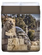 Lion Fountain In Rome Italy Duvet Cover