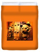 Lion Heads Gothic Door Duvet Cover