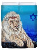 Lion Of Judah Before Jeruselum Duvet Cover