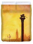 Lion Of San Marco Sunset Duvet Cover