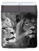 Lion Pair Black And White Duvet Cover