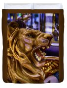 Lion Roaring Carrousel Ride Duvet Cover