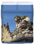 Lion Statue In Bruges Duvet Cover