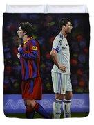 Lionel Messi And Cristiano Ronaldo Duvet Cover