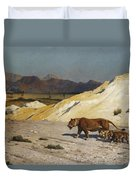 Lioness And Cubs Duvet Cover by Jean Leon Gerome