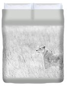 Lioness In Black And White Duvet Cover