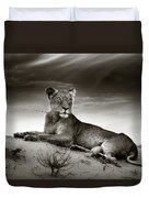 Lioness On Desert Dune Duvet Cover by Johan Swanepoel