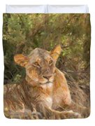 Lioness  Panthera Leo Resting Duvet Cover