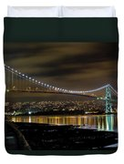 Lions Gate Bridge At Night Duvet Cover