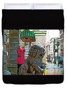 Lions Roar At Entry Gate To  Chinatown In San Francisco-california  Duvet Cover