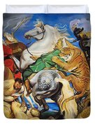 Lions Tigers And Leopard Hunt Homage To Rubens Duvet Cover
