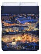 Lisbon At Night Portugal Duvet Cover