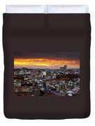 Lisbon At Sunset Duvet Cover by Carlos Caetano