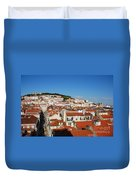 Lisbon Cityscape With Sao Jorge Castle And Cathedral Duvet Cover
