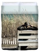 Listening To The Waves Duvet Cover