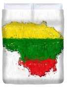 Lithuania Painted Flag Map Duvet Cover