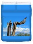 Little Bird On Tall Dead Saguaro Duvet Cover