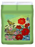 Little Birds And Poppies Duvet Cover