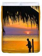 Little Boy Fishing Caye Caulker Belize Duvet Cover