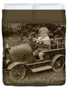 Little Boy In Toy Fire Engine Circa 1920 Duvet Cover