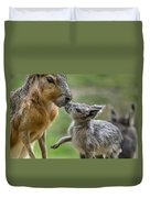 Little Cavy With Mother Duvet Cover