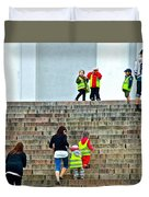 Little Children Climbing Steps Of Lutheran Cathedral Of Helsinki-finland Duvet Cover