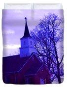 Little Church At Night Duvet Cover