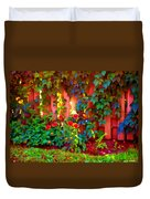 Little Country Scene Pink Flowers Climbing Leaves On Wood Fence Colors Of Quebec Art Carole Spandau Duvet Cover