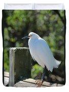 Little Egret On The Boardwalk Duvet Cover