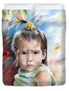 Little Girl From Tahiti Duvet Cover