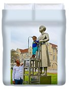 Little Girl Gets Close To Woman Sculpture In Donkin Reserve In Port Elizabeth-south Africa Duvet Cover