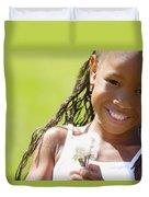 Little Girl Holding Weeds Duvet Cover