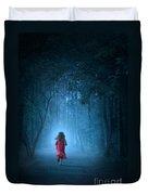 Little Girl In Red Dress Running In A Misty Forest Duvet Cover