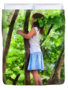Little Girl Playing In Tree Duvet Cover