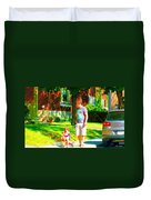 Little Girls First Bike Lesson With Dad Beautiful Tree Lined Street Summer Scene Carole Spandau  Duvet Cover