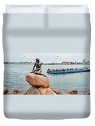 Little Mermaid Statue With Tourboat Duvet Cover