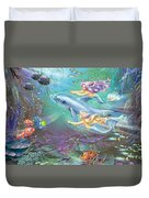Little Mermaids And Dolphin Duvet Cover
