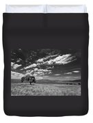 Little Prarie Big Sky - Black And White Duvet Cover