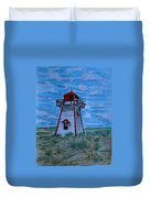 Little Red And White Lighthouse Duvet Cover