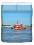 Little Red Boat On The Mighty Mississippi Duvet Cover