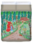 Little Red Riding Hood With Grandma's House On Mailbox Duvet Cover