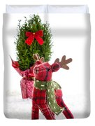 Little Reindeer Christmas Card Duvet Cover
