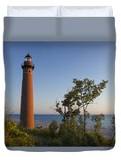 Little Sable Lighthouse By The Shore Duvet Cover