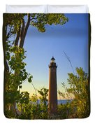 Little Sable Lighthouse Seen Through The Trees Duvet Cover