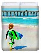 Little Surfer Dude Duvet Cover