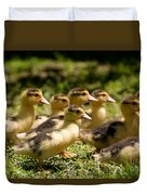 Yellow Muscovy Duck Ducklings Running Fast  Duvet Cover