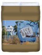 Live Bait Sign And Muffler Man Statue Duvet Cover