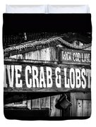 Live Crab And Lobster Sign On Dory Fish Market Duvet Cover