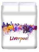 Liverpool Skyline In Watercolor Duvet Cover