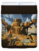 Living Fossils In A Desert Landscape Duvet Cover